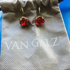 Jewelry - NEW Van Galz Red Leverback Earrings